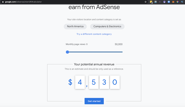 Google Adsense Calculator- How To Make Money Blogging For Beginners