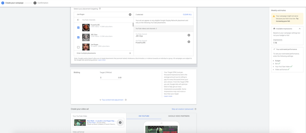 YouTube Ads on adwords