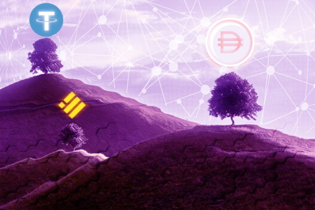DAI, USDT, and BUSD crypto stablecoins
